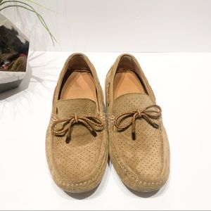 Zara Tan Suede Moccasin loafers size 41